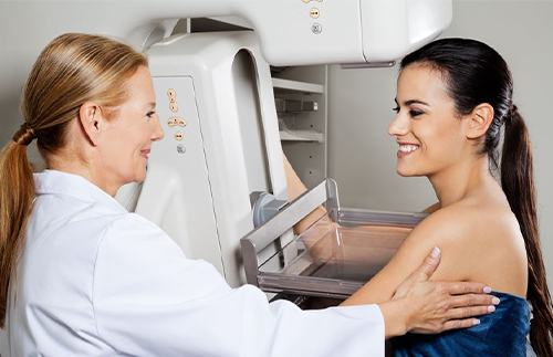 Woman getting mammography