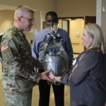 Brigadier General recieving gift