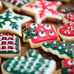 red green and white holiday cookies in the shape of presents mittens and trees