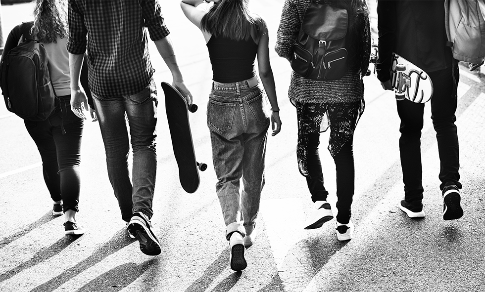 teens walking together