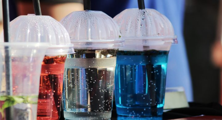 energy drinks sitting on table