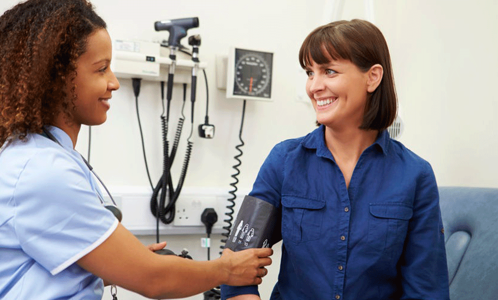 woman with high blood pressure