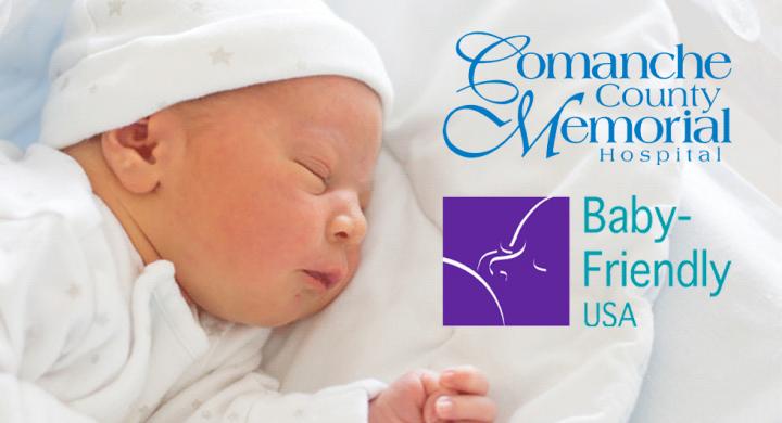 newborn sleeping next to CCMH and Baby-Friendly USA logos