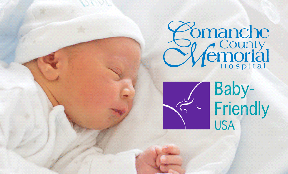 newborn sleeping next to CCMH and Baby-Friendly USA logos