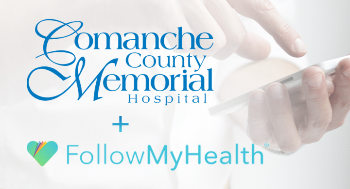 CCMH and FollowMyHealth logos on image of a man holding a cell phone
