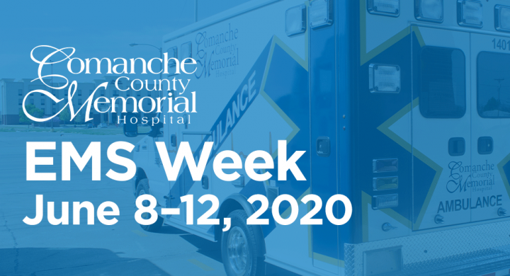 """CCMH Ambulance with blue overlay and """"EMS Week"""" text"""