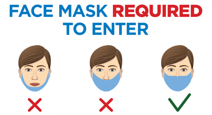 """illustration showing person wearing mask incorrectly (not covering nose or mouth) and correctly (covering both nose and mouth) with the words """"face masks required to enter"""""""