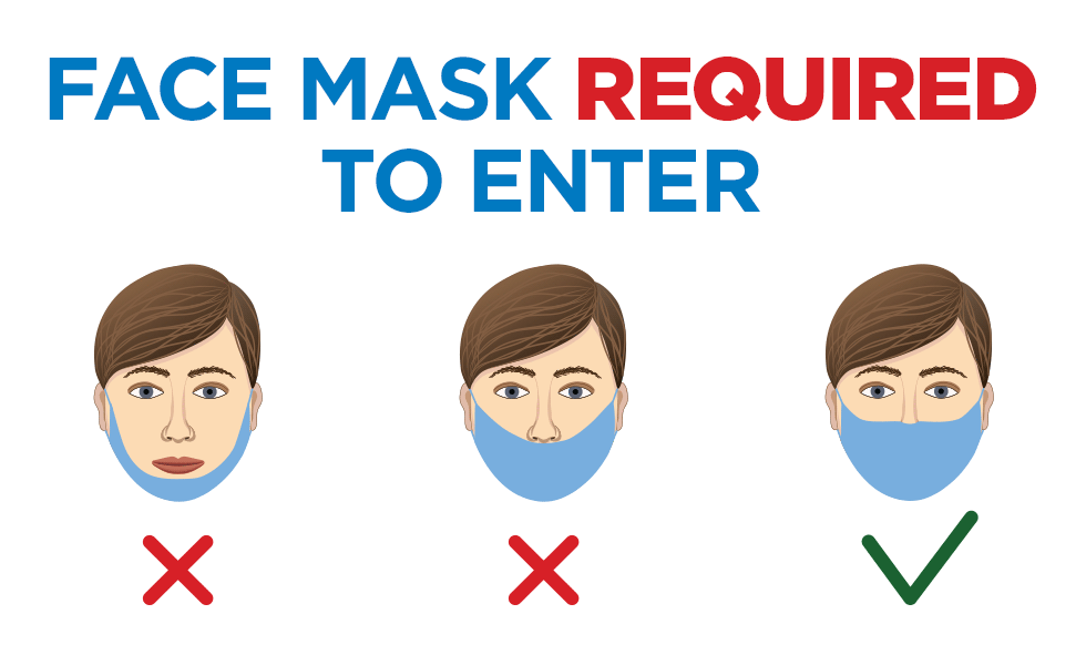 "illustration showing person wearing mask incorrectly (not covering nose or mouth) and correctly (covering both nose and mouth) with the words ""face masks required to enter"""