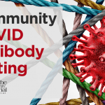 "3D COVID-19 virus with ""Community COVID Antibody Testing"" text"