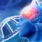 Blue graphic with a white DNA strand behind human head with red frontal lobe of brain indicating dementia